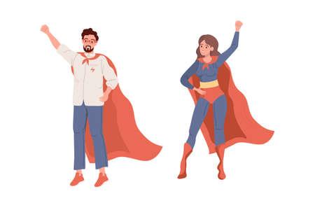 Superheroes. Flat Superhero and Superwoman vector 矢量图像