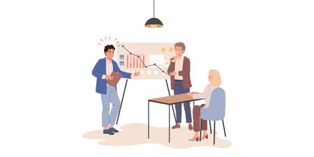 Business management coaching, programming courses, technical support, online education. Managers workshop, coding workshop. Vector illustrations 矢量图像