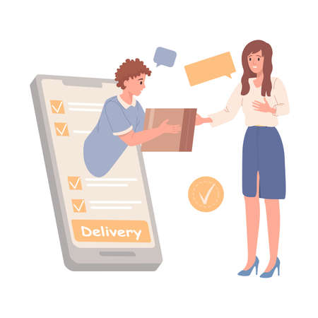 Delivery service concept. Order food or goods online by smart phone. Man gives box to customer. Vector illustration 矢量图像