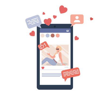Girl influencer in a social media post. Thumb up, comments and share vector illustration