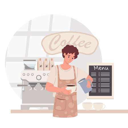 Barista in coffee shop. Man in apron making coffee, offering takeaway cup. Cafe concept. Vector illustration 矢量图像