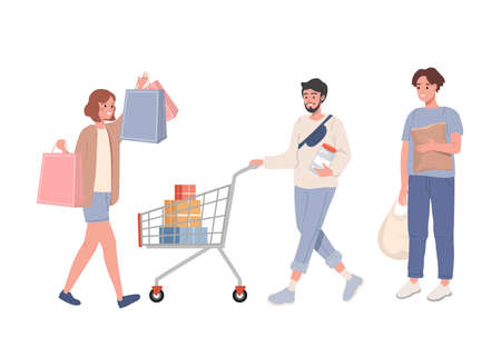 Group of people Shopping with bags and shopping baskets vector 矢量图像