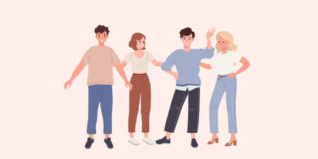 Group of happy young people friends on a white background vector illustration 矢量图像