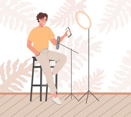 Blogger or vlogger cartoon man making internet content vector flat illustration. Character influencer creating video for blog or vlog review