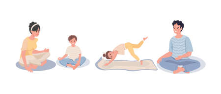 Family sitting in meditation. Family doing yoga at home