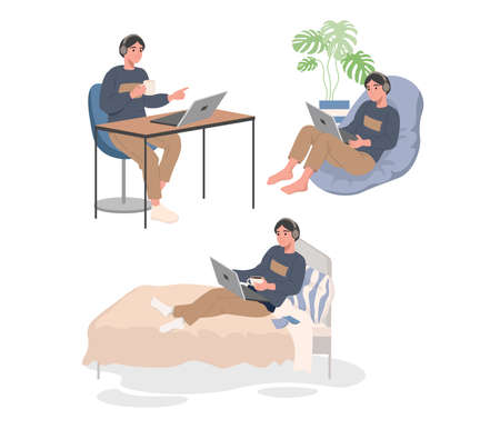 Young guy works from home. Works with laptop on the bed, armchair and at the table. Online education from home. Vector illustration 矢量图像
