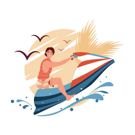 Young man ride hydro cycle in sea vector. Jetski landscape cover design. Summer holiday on water scooter ocean waves cartoon illustration. Character racing water scooter vector 矢量图像