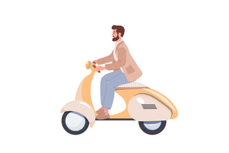 Young hipster guy riding a retro scooter on a white background vector illustration