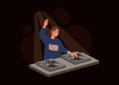 Young girl DJ isolated on dark background. Female playing music records on audio mixers or controller on a party. Vector illustration in flat cartoon style.