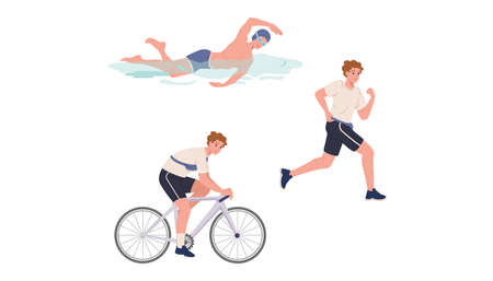 Young athlete is swimming, running and cycling 矢量图像