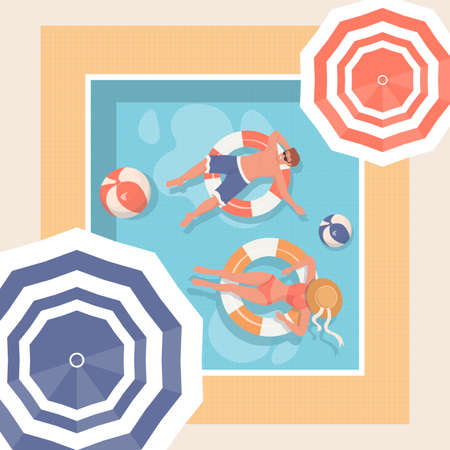 Young people relaxing in swimming pool. Summer hot day Vector illustration