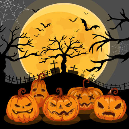 Jack O 'Lanterns or pumpkins banner In Spooky Night - Happy Halloween vector