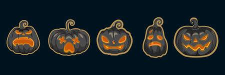 Set of Jack O 'Lanterns or pumpkins vector. Halloween pumpkins collection 矢量图像