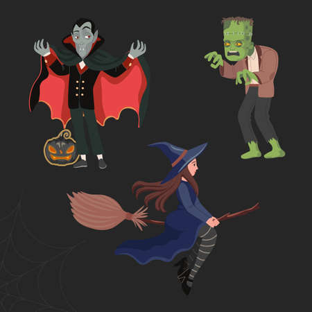 Dracula or vampire, a witch on a broomstick, and a green scary monster - Frankenstein. Happy halloween vector