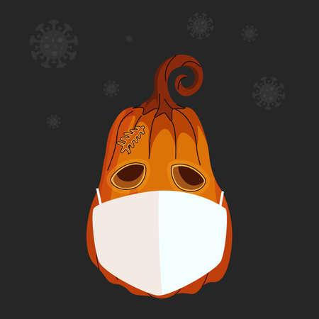 Pumpkin in a protective mask. Coronavirus banner with pumpkin vector illustration 矢量图像