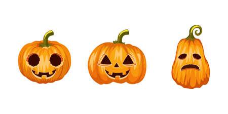 Set of halloween pumpkins, funny faces. Autumn holidays. Halloween realistic pumpkins collection