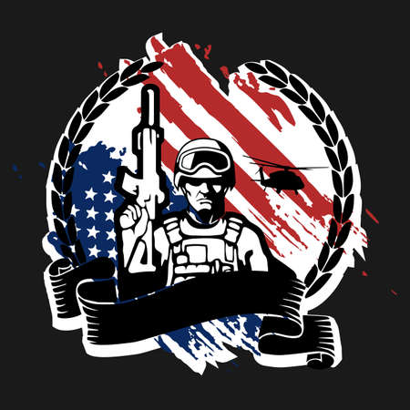 Soldier with weapon on the background of the flag of america, vector illustration 矢量图像