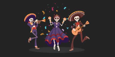 Halloween Dia De Los Muertos Holiday. Traditional Mexican Day Of Dead