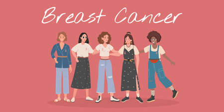 Breast Cancer Awareness month of diverse women friend group hugging together for support, girl team hug concept. Breast Cancer web banner vector 免版税图像 - 156365569