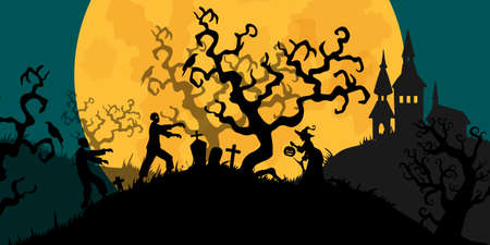 Halloween banner In Spooky Night with zombie and witch - Happy Halloween vector. halloween pattern easy to color adjustment