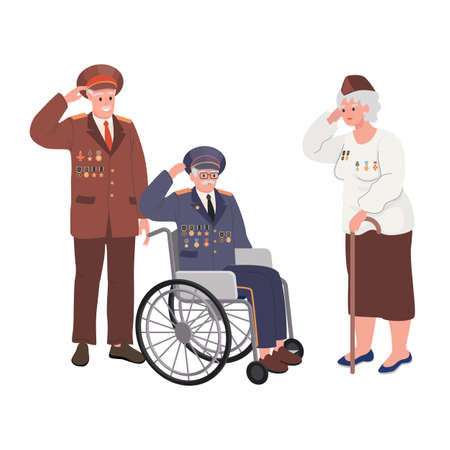 Veterans Day National American Holiday with Group Of Retired Military People vector