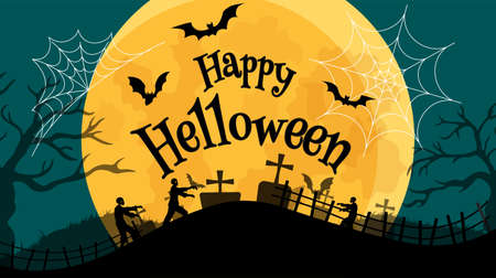 Halloween banner In Spooky Night with zombie - Happy Halloween vector. halloween pattern easy to color adjustment