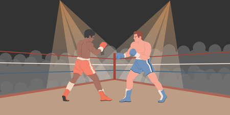 Boxers are fighting in boxing ring vector background. Black and white men fight