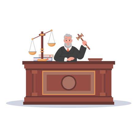 Judge character with hammer cartoon vector illustration 矢量图像