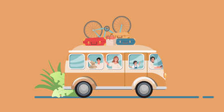 Happy family traveling in a touring van with luggage and bicycles on a white background. Mom, Dad, children and a dog - family road trip.