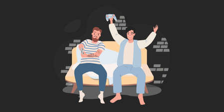 Two friends playing on a game console at home. Cartoon vector illustration