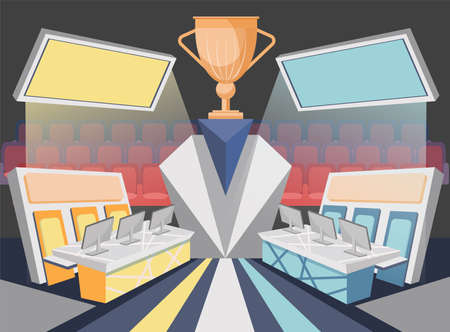 Cybersport arena. Team Competition Vector Illustration