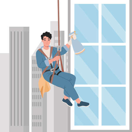 Professional worker cleaning windows. Skyscraper cleaning service. Cartoon vector illustration