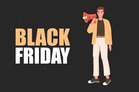 Man is speaking in a megaphone - Black Friday hot sale fluyer