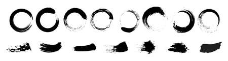 Big collection of black paint, ink brush strokes, brushes, lines, grungy, circles. Freehand drawing vector illustration isolated on white background 矢量图像