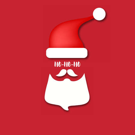 Beard Santa with red background. Merry Christmas Ho-Ho-Ho banner. Vector illustration