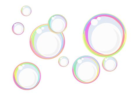Galleggianti di bolle di sapone colorate contro il bianco, può essere utilizzato anche come sfondo Vettoriali