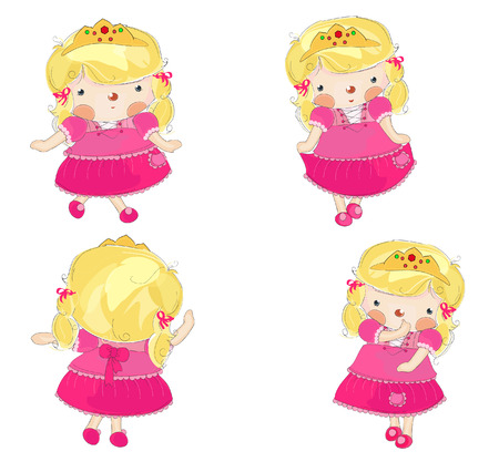 cute little princess in 4 variations Stock Vector - 9580084