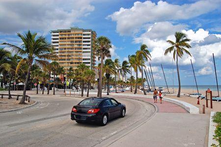 florida landscape: Car on the beach near ocean Stock Photo