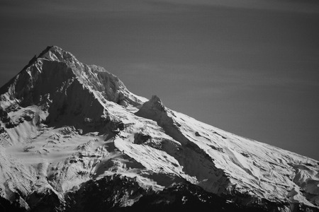 A black and white photo of Mt Hood in the Cascade mountain range in Oregon