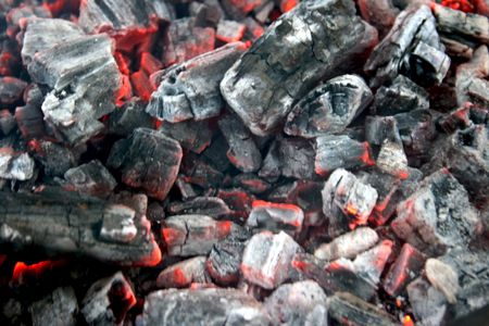 a lghited embers, judt good for the meat Stock Photo