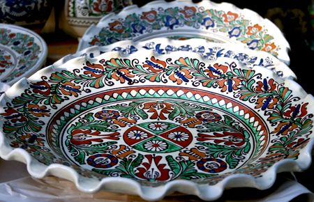 painted clay plate from romanian peasant museum