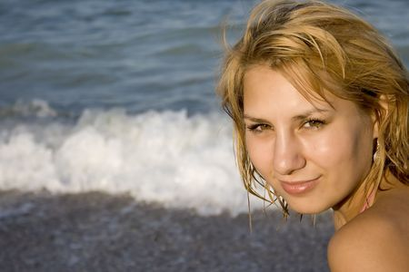 portrait of a beautiful girl at the beach Stock Photo