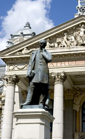 national poet: the statue of a great poet from Romania: Vasile Alecsandri, in front of The National Theatre from Iasi Stock Photo