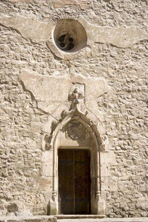 ancient door of a medieval castle photo