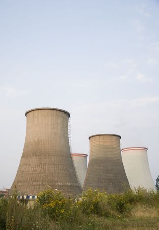 Power Plant Cooling Towers Stock Photo