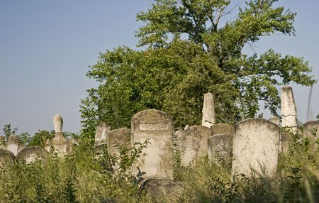 old tombs from jewish cemetery from iasi, romania photo