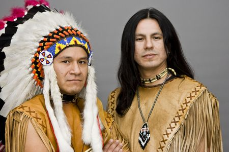 Portrait of two native americans in a studio Stock Photo - 3828579