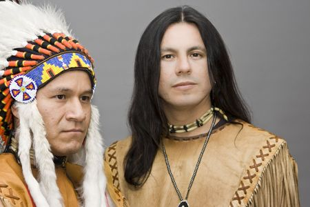 Portrait of two native americans in a studio photo