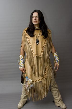 Portrait of a native american in a studio