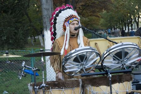native american playing music on the streets Stock Photo - 3828582